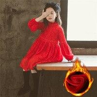 Spring Lace Girls Dress Fancy Children Princess Dress Formal Kid Dresses For Girl Winter Thicken Warm Red Children Clothing