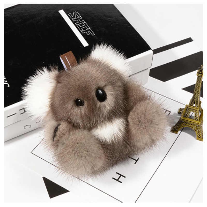 Novo 100% Cabelo Vison Koala Pingente de Pelúcia Saco Mochila Mulheres Acessórios Ornamentos Anime Bonito Do Presente Da Menina De Pele