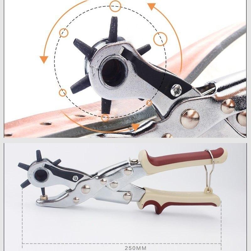Купить с кэшбэком LIJIAN Quality Leather Belt Punch Plier Book Revolve Puncher Watchband Modify Household Eyelet Sewing Machine Bag Hand DIY Tool