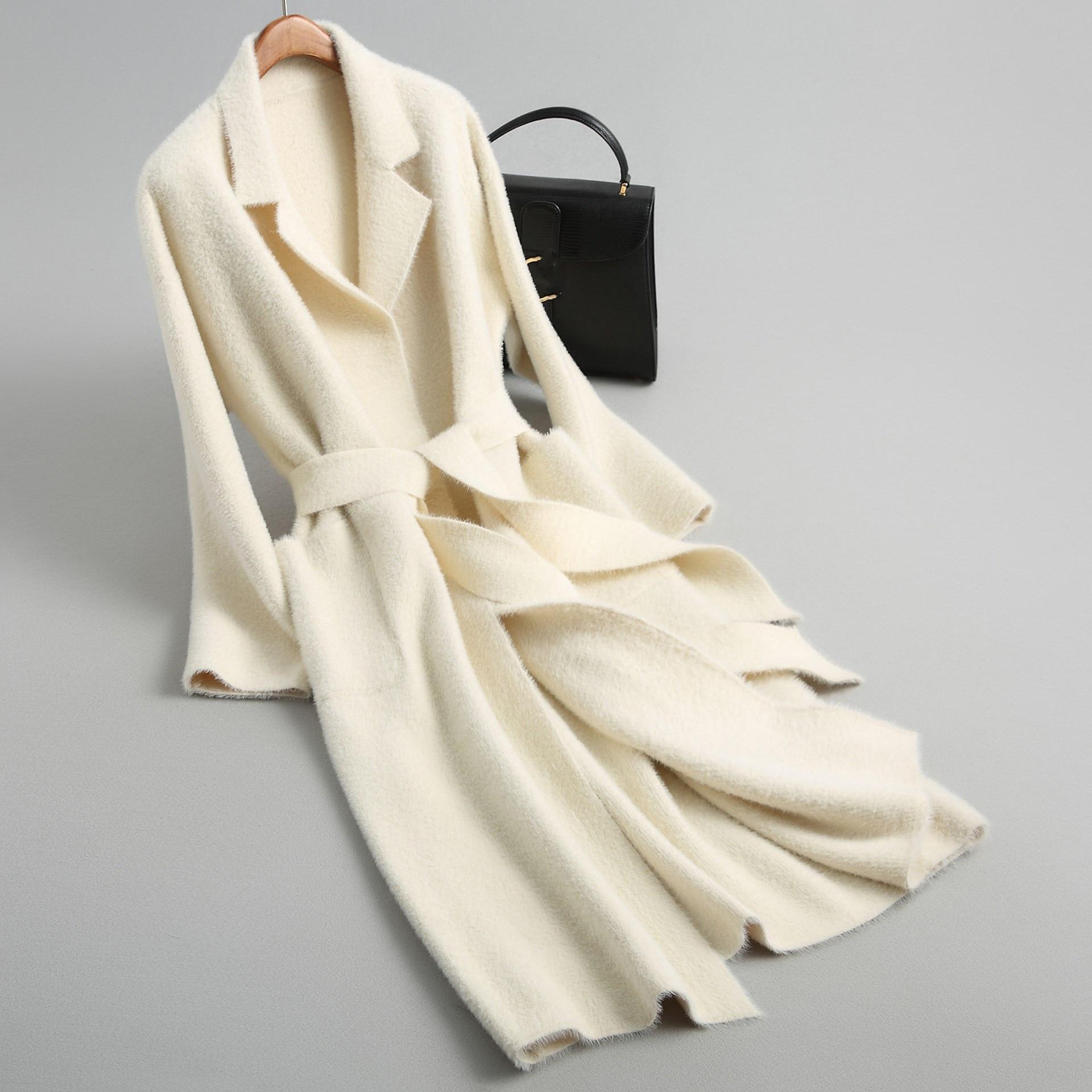 Winter Coats Female Solid Sashes Long Jacket Women Knitted Faux Woolen Coat Alpaca Cashmere Coat Female Long Coat Outwear
