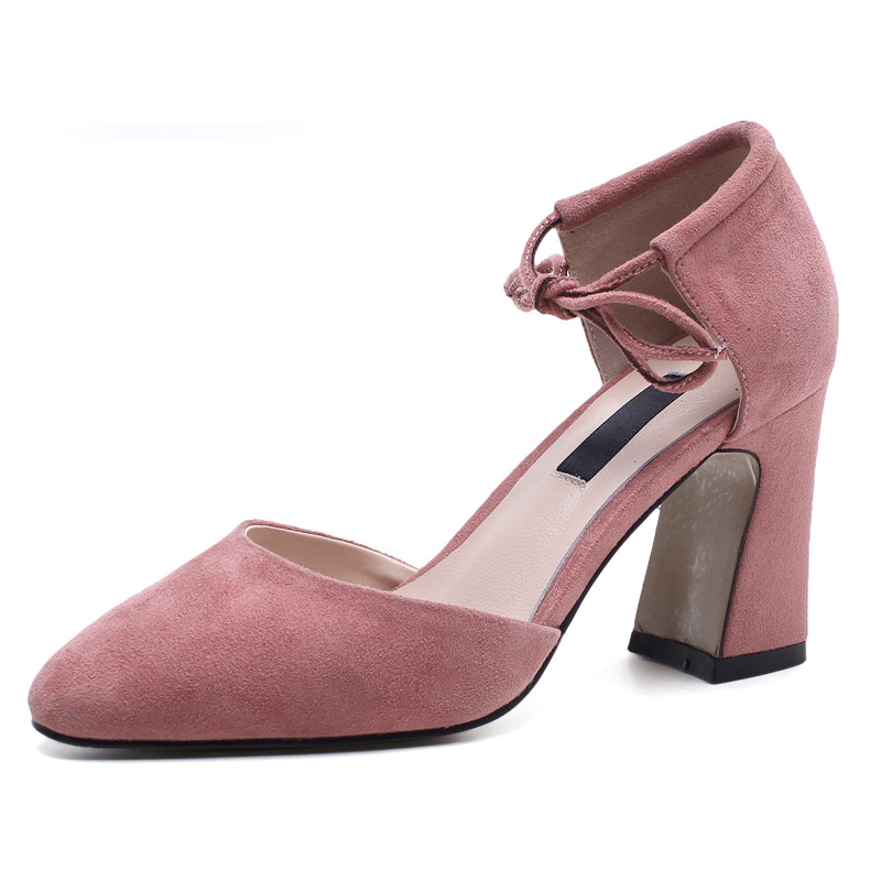 D'emballage À Habillées Sexy 8 Style Lacets Sf611 gray D'été Épais Femmes Cuir pink Véritable Femme Sandales Black Chaussures Boîte En Cm Pompes Talons qwxUS7FP