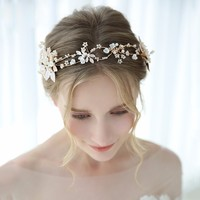 Gold Leaves Crown Tiara Pearl Beads Wedding Hair Accessories Luxury Bridal Hair Ornaments Women Headpiece Jewelry For Girl