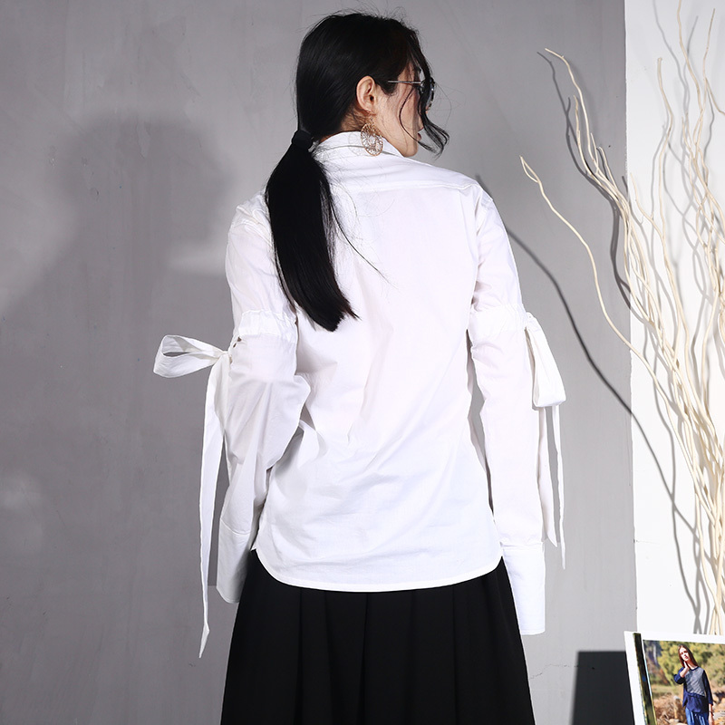 Court À Printemps Longues Chemise Bandage Supérieure Manches Blouse Lanmrem Coton Femmes De Conception Type Whihte Nœud Qualité Blanc La67 2019 Personnalité wt8P8nxz