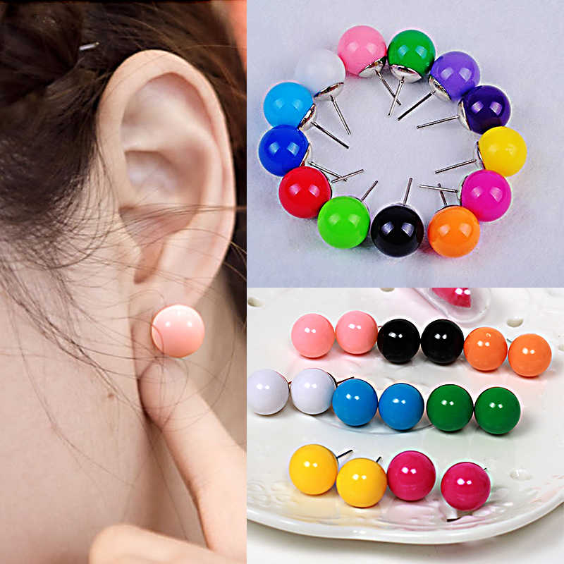 Mujer Jewelry 1Pair Fashion Candy Colour Stud Earring Ball Plastic Shape Pendientes Korean Style Cute