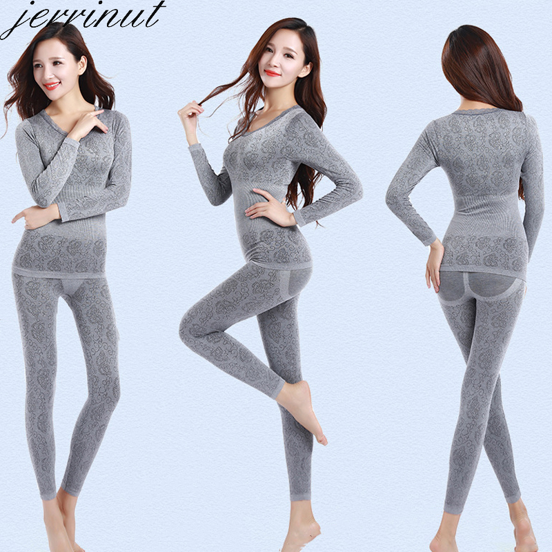 Jerrinut Thermal Underwear Women Long Johns Women For Winter Warm Long Johns Cotton Sexy Thermal Underwear Set For Women