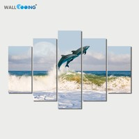 5 pieces of canvas painting Blue sea dolphin home Decorative Art Seascape setting spray frameless Modern bedroom decorated with