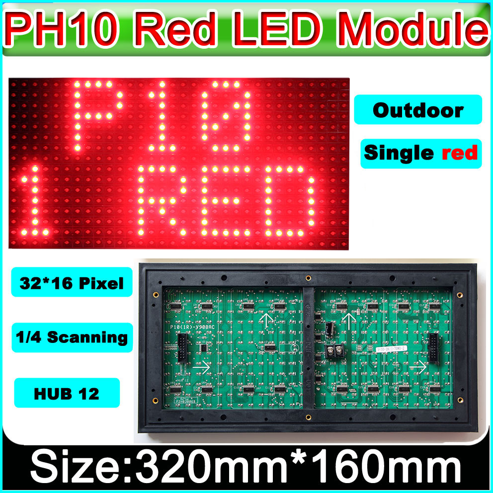 2019 NEW Red LED sign panel P10 Outdoor LED Display Module,Message Board,Brand Sign,Waterproof,High Brightness signage