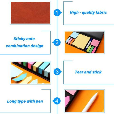 Colored Sticky Note Sets Self-Stick Note Box Sets With Page Markers Index Tabs Flags School Office Supplies Multan