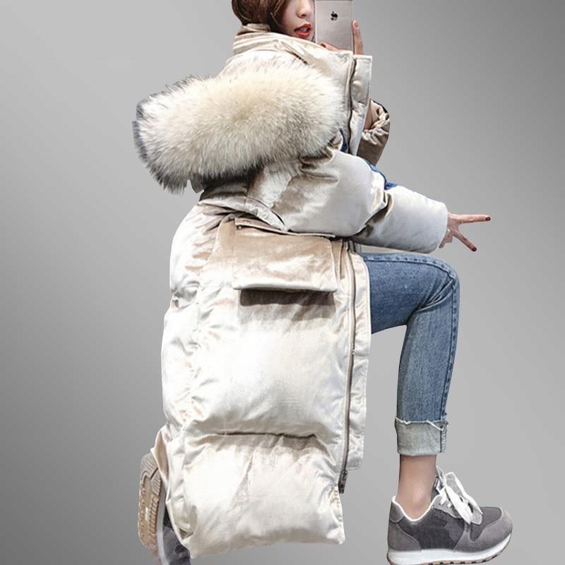 2018 Winter Women Hooded Plus Size Velvet Thicken Warm Fur Collar Cotton Padded Jacket Coat Female   Parkas   Mujer Invierno LS46