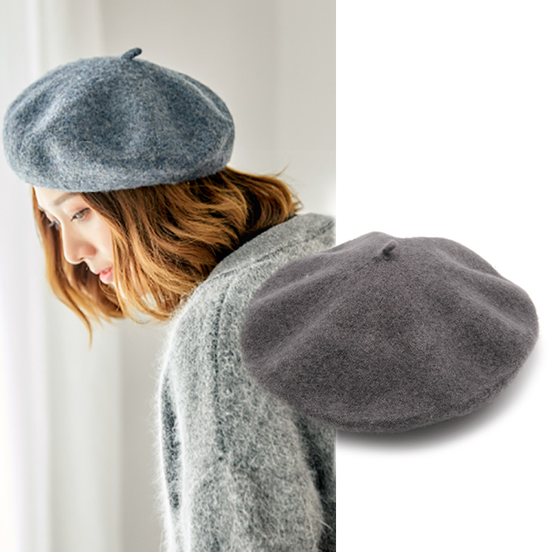 Winter Hats Bonnet-Caps Beret-Hat Wool Female Girls French Womens Autumn For Red WH021