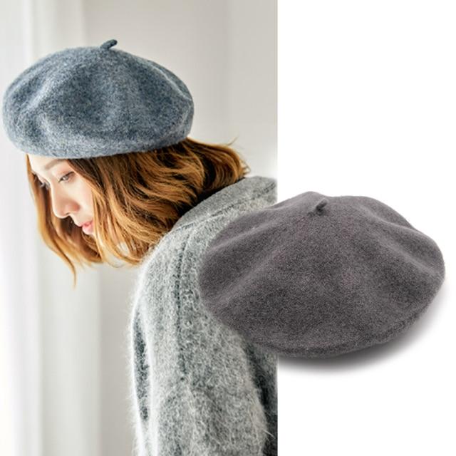 Mujer francés boina sombrero gorros de invierno para mujeres de lana gorra  de boina de chicas 5106db308a43
