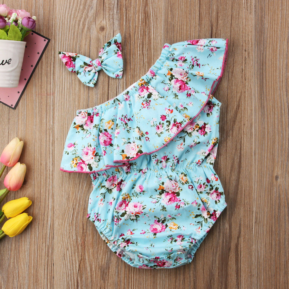 Cute Newborn Baby Girls Floral Bodysuit Romper Jumpsuit Sunsuit Outfits Set