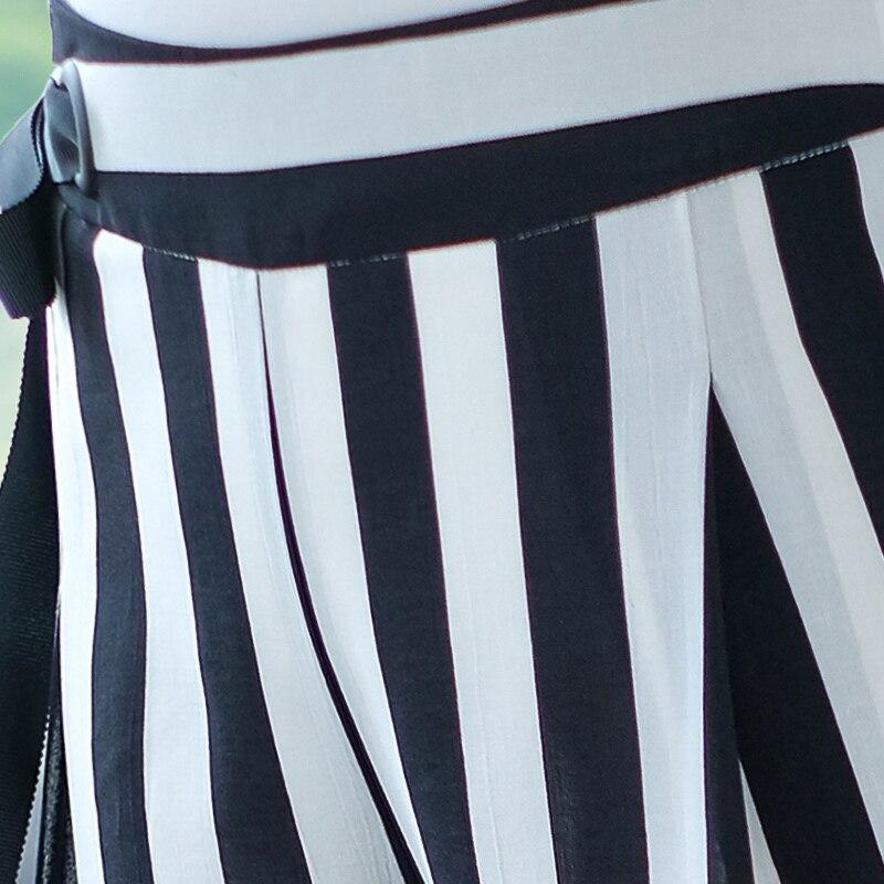 De Casual Femmes Et Printemps Stripes Arc Marque Style Taille Rayures Européen 2018 Des Haute White Américain Rugueuses Nouveau Côté Black Pantalon qTvd5w