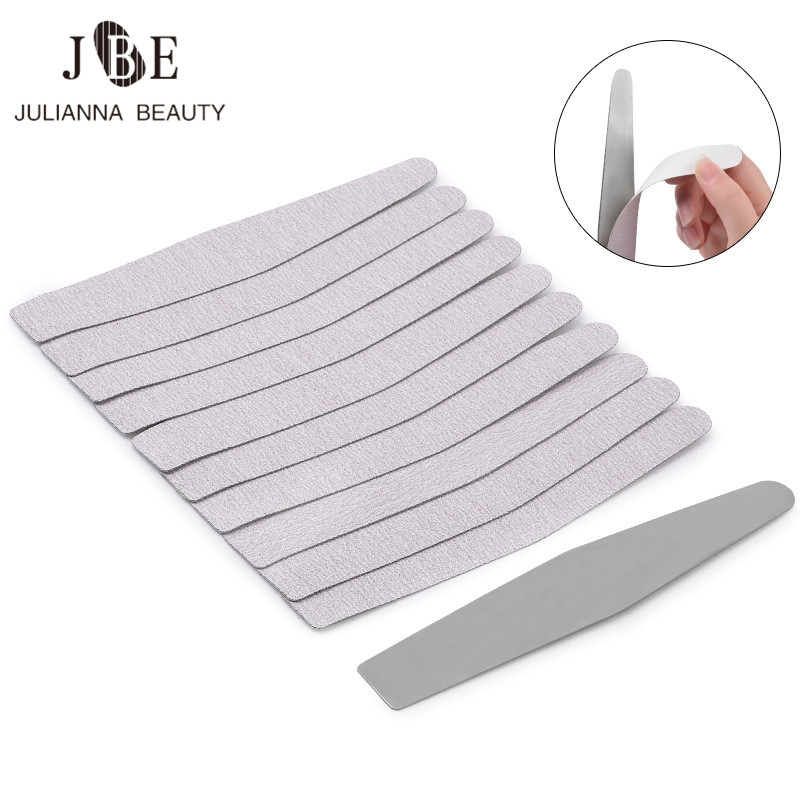 New 180 Grit Nail Art Sanding Files Calluses Remover Stainless Steel Handle With 10 Pcs Replacement Disposable Sand Paper Pads