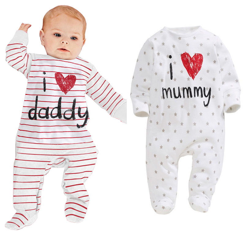 Long Sleeve I Love Daddy Mummy Print Striped Baby Rompers