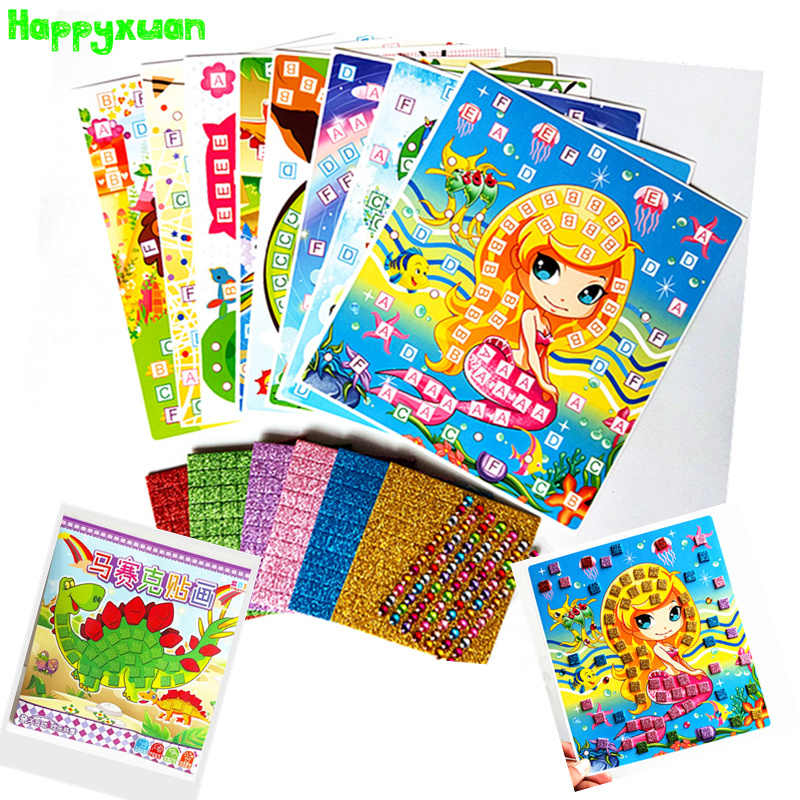 Happyxuan 8 Pictures Kid DIY Glitter Eva Mosaic Art Sticker Puzzle with Diamond Gift Set Preschool Education Creative Toy