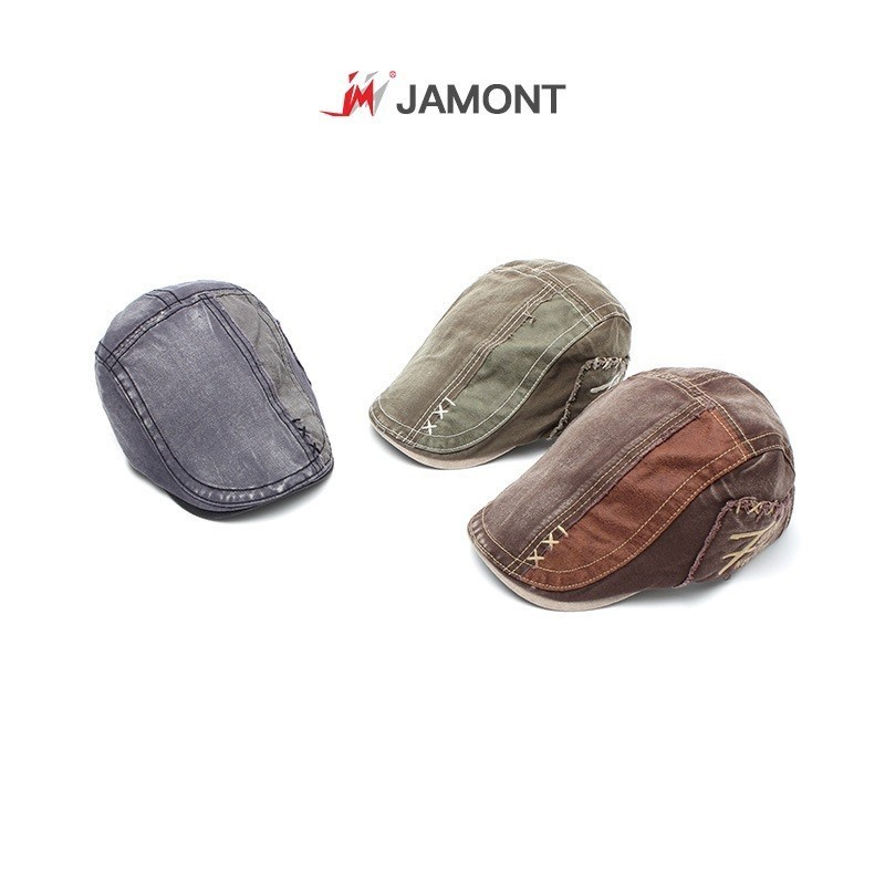 Jamont Cotton Beret Gatsby Summer Hat Flat-Cap Newsboy-Style Cabbie Adjustable Women