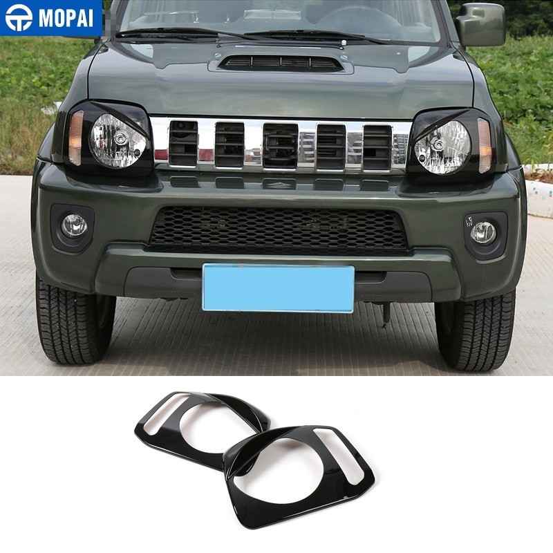 MOPAI Lamp Hoods for Suzuki jimny 2007 Up ABS Black Car Front Headlight Lamp Cover for Suzuki jimny Car Accessories Styling