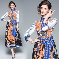 Europe 2019 Colorful Print Long Sleeve quality Pleated maxi Dress Summer Spring New 2019 Women Elegant Style