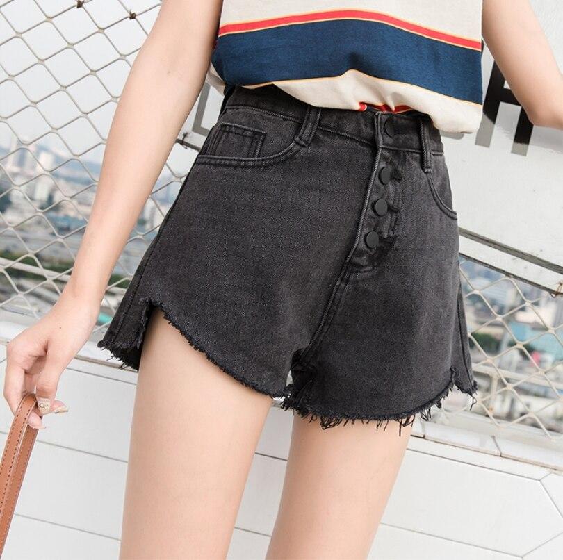 Mujer Denim Negro Verano Puños Cortos Las Plus Alta Bolsillos Pantalones Loose Tamaño Cintura De Mujeres Arrancó Vaqueros SYEqRww