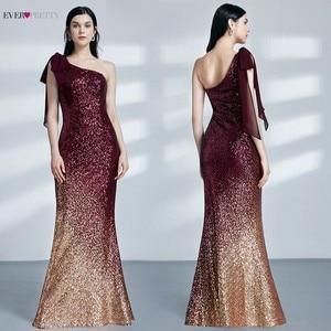 Image 3 - Paillettes robes de soirée longue jamais jolie EP07336 sirène une épaule sans manches Sexy moulante Abiye robes élégantes robes de soirée