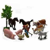 Decoración de granja, figurita de animales en miniatura de cerdo, caballo, vaca, oveja, pato, conejo, decoración de jardín, accesorios DIY para el hogar