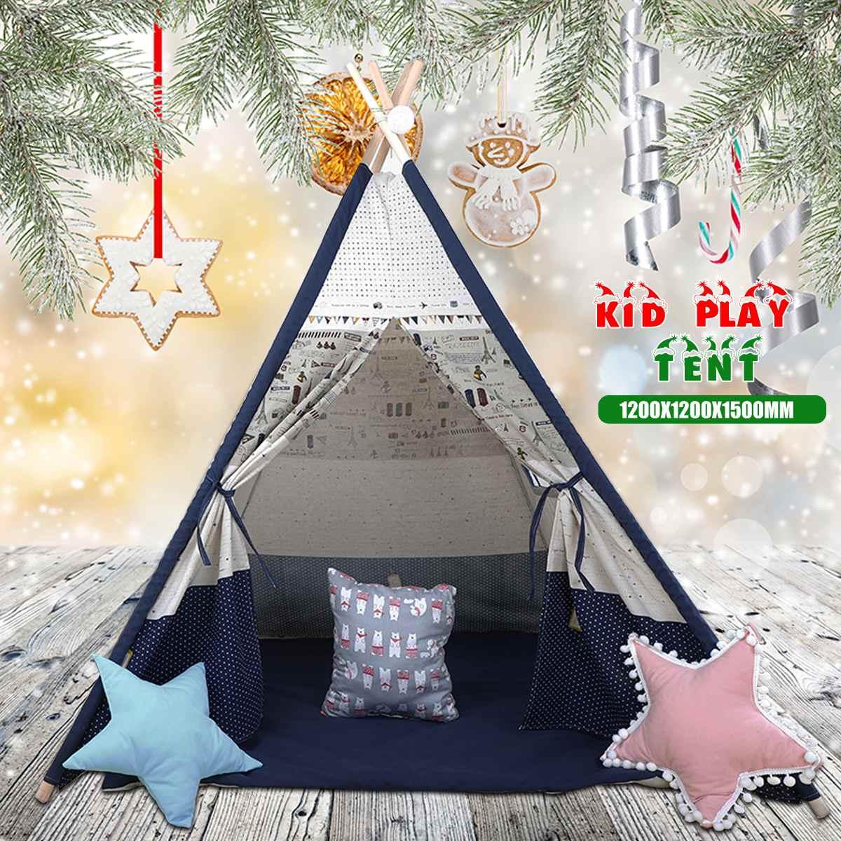 Grande tente de tipi enfants toile maison semblant jouer en plein air intérieur enfant cadeaux de noël 1200x1200x1600mm