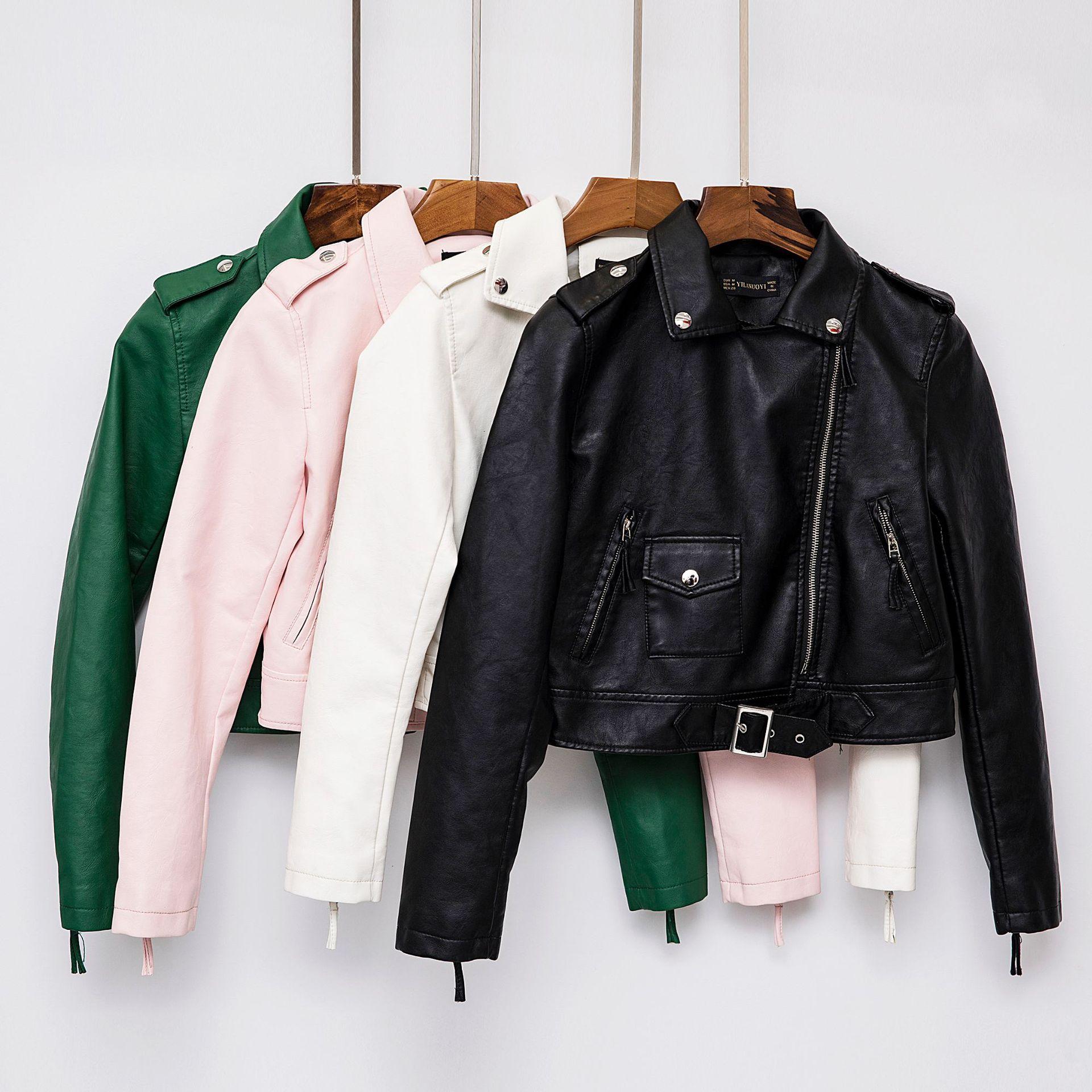 2019 Spring New European Female American Long-sleeved PU Women   Leather   Jacket Lapel Short Slim Slim