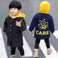 Garment Winter Children Korean Thickening Villus Wool Long Loose Coat Baby Cartoon Heavy Woolen Cloth