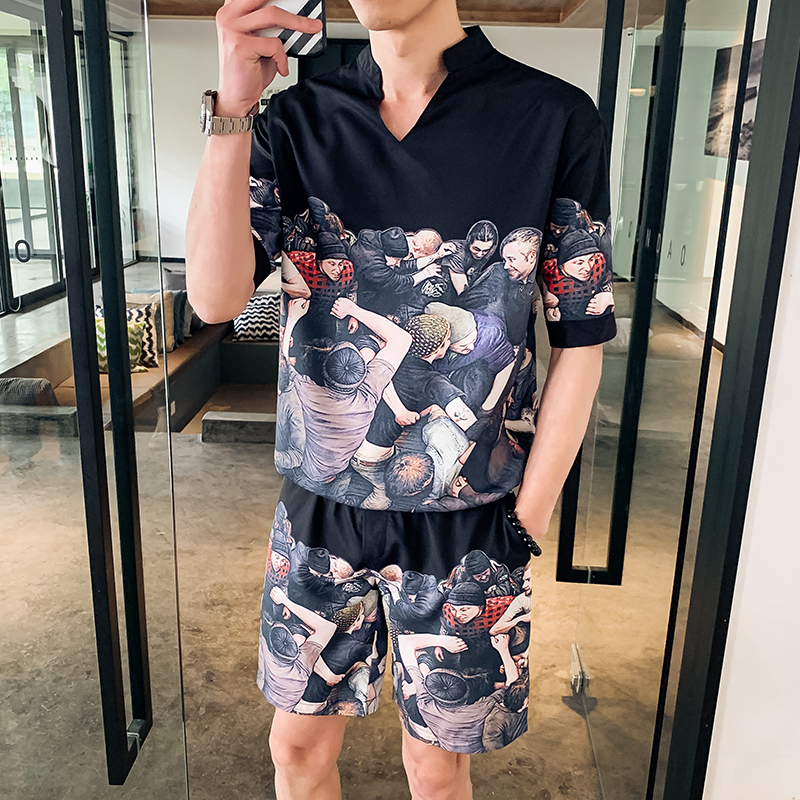 2019 Men's Shorts Short-sleeved Two-piece Hot Sale Fashion Trend Cotton Printing Color Casual Slim Street Sportswear Two-piece