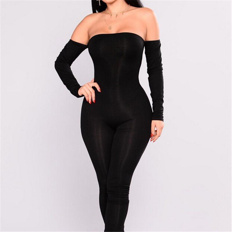 2018 Autumn Women Casual Skinny Jumpsuit Black Long Sleeve Sexy Off Shoulder Bodycon Jumpsuit Women Clubwear Long Trouser