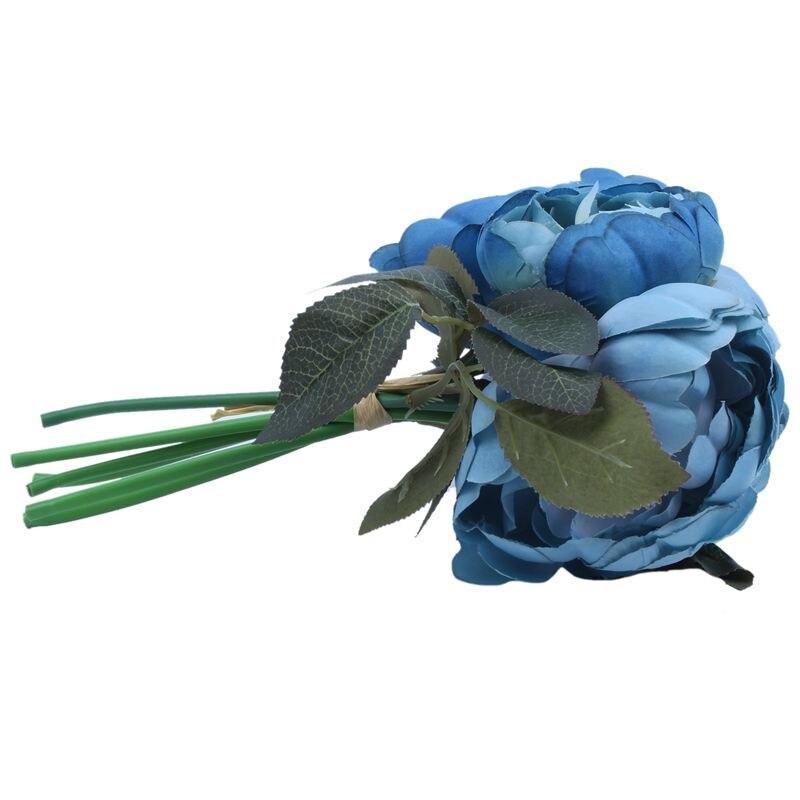 1 Bouquet 6 Heads Artificial Peony Flower Bridal Home Wedding Garden Decor, Blue