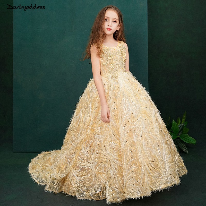 Luxury Gold   Flower     Girl     Dresses   for Weddings 2019 Sleeveless Beaded Evening Ball Gowns for   Girls   Kids Pageant   Dresses   with Train