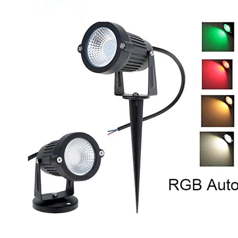 LED Garden Lawn Lamp Light 220V 110V  Outdoor LED Spike Light 5W  Path Landscape Waterproof Spot Bulbs RGB