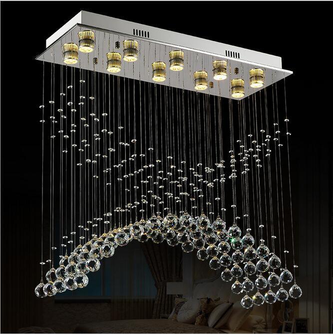 New Stainless Steel K9 Crystal Pendant Lights Led Lamps High Quality Crystal Pendant Lamps Gu10 Led Lustre Light Pendant Lamp|Pendant Lights|   - title=