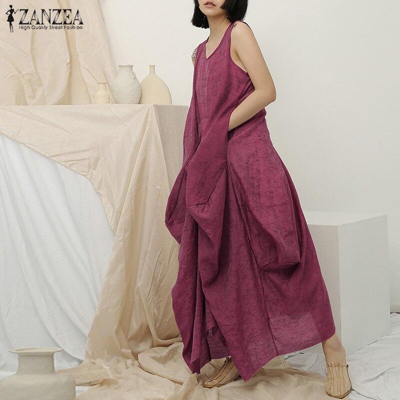 ZANZEA 2019 Summer Maxi Long Dress Women Vintage Female  Dress Casual Sleeveless Beach Vestido Sarafans Baggy Linen Sundress