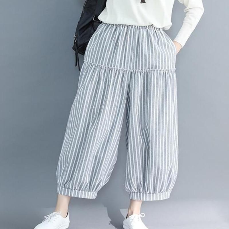 #0432 Summer Casual CBloomers   Wide     Leg     Pants   Women High Waist Stripe   Pants   Ladies Loose Ankle-length Trousers Cotton Linen