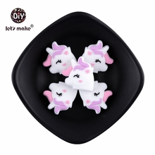 5pc/lot Silicone Beads Cute Unicorn Silicone Teething Bead Accessories Silicone Rodent DIY Making Ne