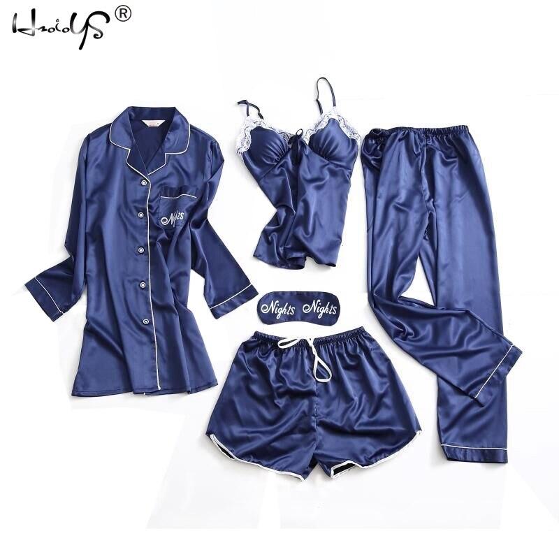 Lace Silk Pajamas Mujer Women Satin Sleepwear 5 Pieces Pyjamas Sexy Pajamas