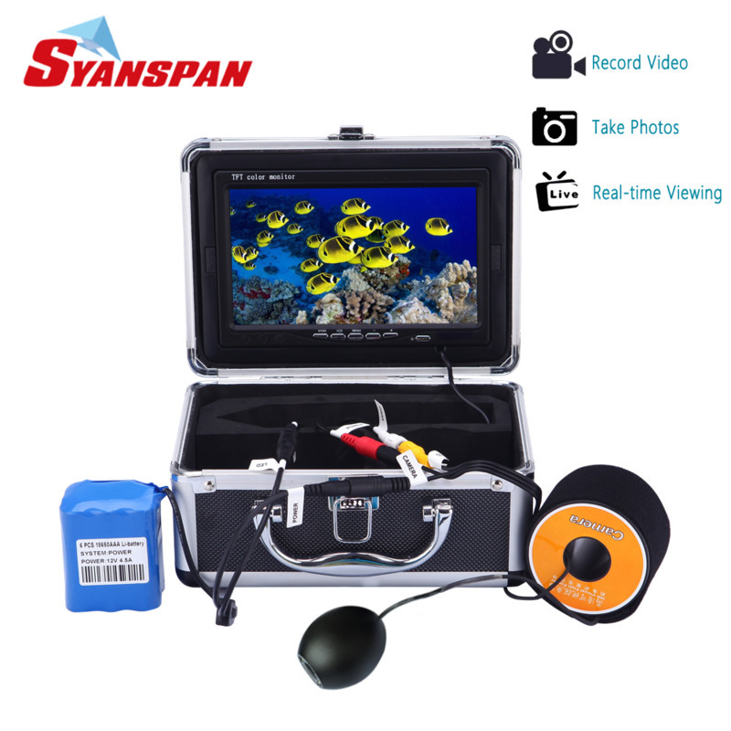 SYANSPAN 7 Fish Finder IP68 HD 1000TVL DVR Underwater Recording Video Camera for Fishing with 12