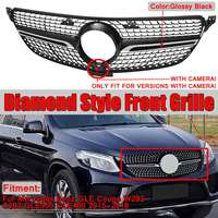 1x Diamond Grill W292 Car Front Grill Grille For Mercedes For Benz GLE For Coupe Sport C292 GLE350 GLE400 2015 2018 With Camera