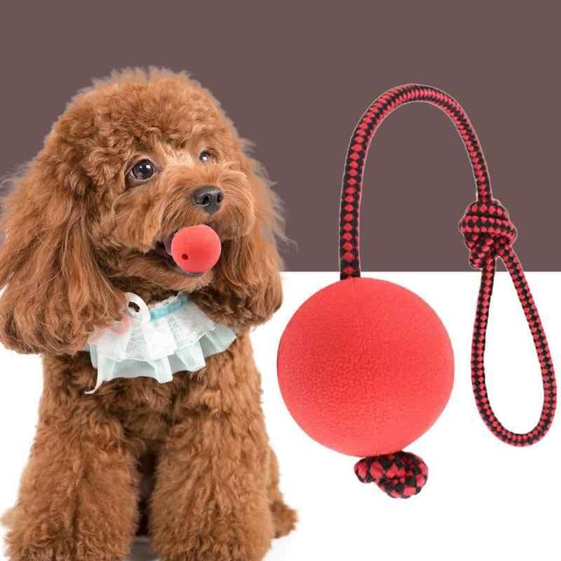 Bola de juguete de goma para mascotas perro lindo bola de goma sólida perro morder masticar juguetes para jugar pelotas para mascotas juguete con mango de cuerda bola elástica grande