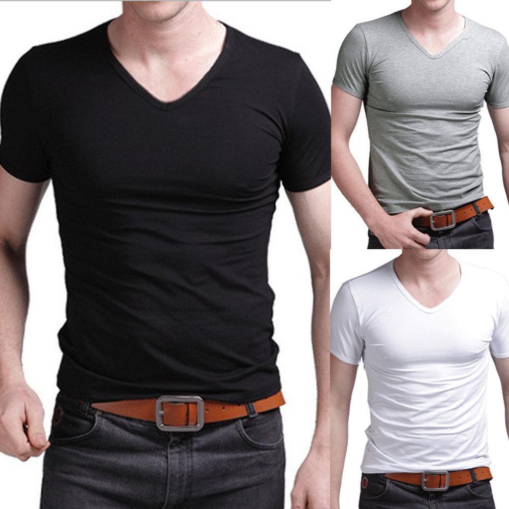 2019 Summer Hot Sale T- Shirt New Men's V Neck Tops Tee Shirt Slim Fit Short Sleeve Solid Color Casual T-Shirt
