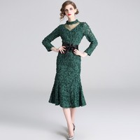 2019 Spring Women Elegant Bandage Belt Long Sleeve V Neck Bodycon Dress Green Stereoscopic Flower Women Sexy Party Dress