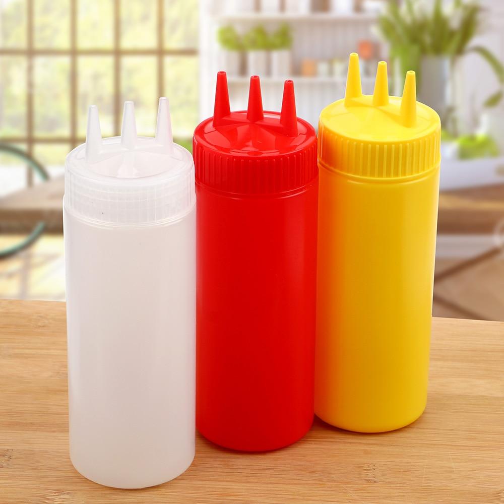 2PCS 12oz//360ml 3 Hole Sauce Squeeze Condiment Bottles Dispenser for Sauce Mustard Ketchup Kitchen Accessorie