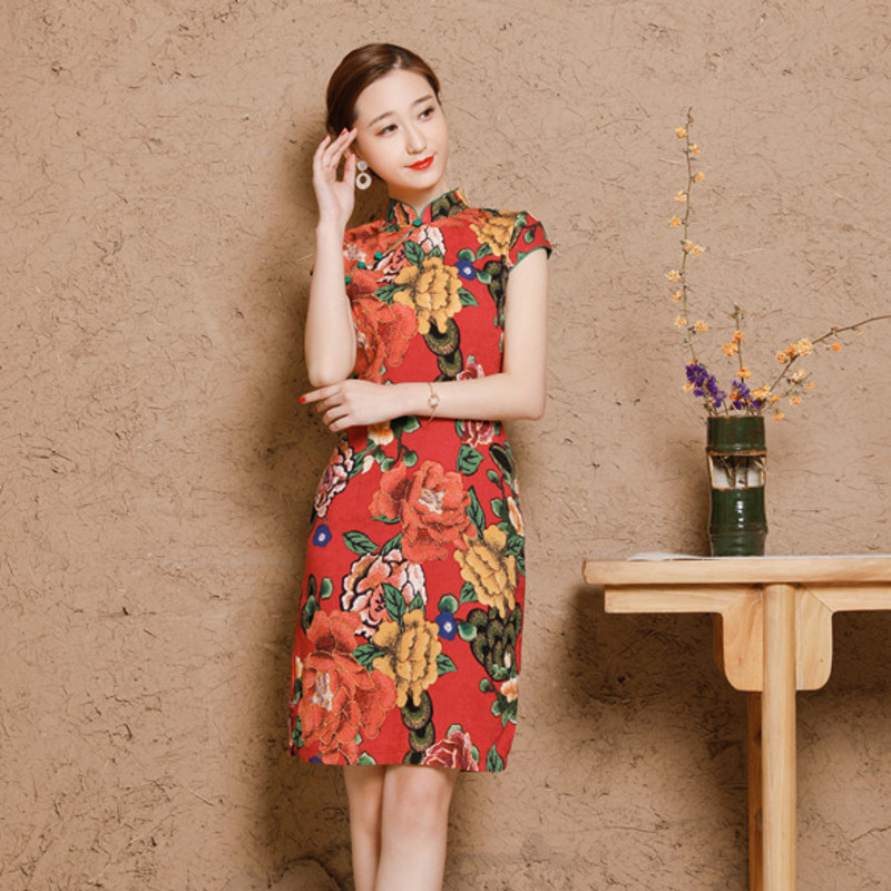 Image 4 - 5XL Women's Cotton Oriental Style Dresses Printing Elastic Qipao New Short Cheongsam Restore Ancient Traditional Chinese Dress-in Cheongsams from Novelty & Special Use