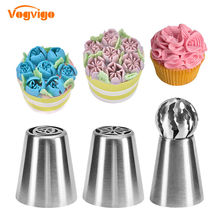VOGVIGO 3PCS Pastry Nozzles 304 Stainless Steel Icing Nozzle Tips Cake Decorating Tools Sugarcraft Cream Confectionery