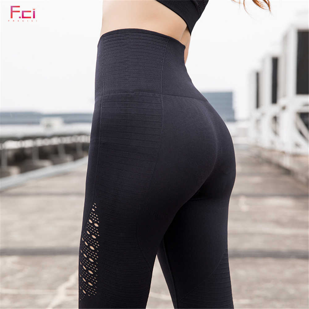 Women Casual High Waist Leggings Breathable Workout Fitness Sporting Seamless Pants  Hollow Out Seamless Leggings Female