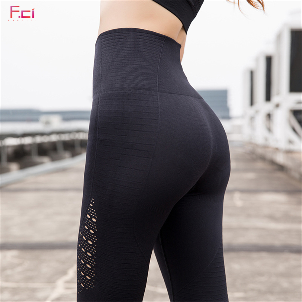 FRECICI Women Casual High Waist   Leggings   Breathable Workout Fitness Sporting Seamless Pants Hollow Out Seamless   Leggings   Female