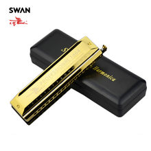 Swan High-end Chromatic Harmonica 16 Holes 64 Tones Gold Laser Proceeded Woodwind Musical Instrument Swan Harmonica SW1664-3(China)